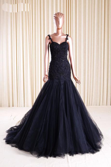 Black Mermaid Tulle Prom Dresses Spaghetti Straps Lace Women Party Dresses