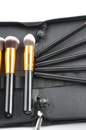 High Quality 10 wool makeup brushes set with bag