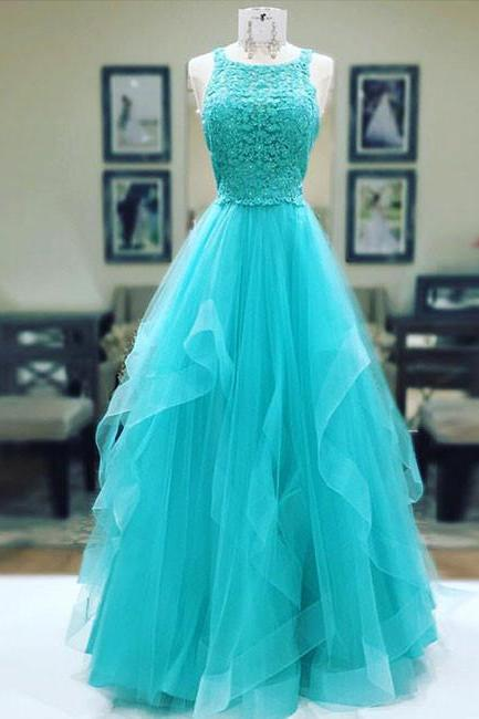 Scoop Neck Long Tulle Prom Dresses Lace Appliques Women Dress