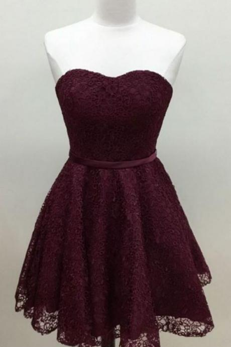 Strapless Sweetheart Lace Short Homecoming Dress, Cocktail Dress, Party Dress