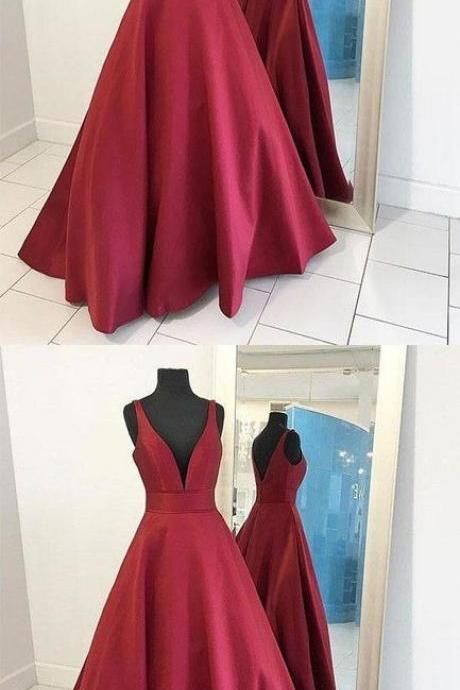 Deep V-neck Long Satin Prom Dresses Floor Length Women Dresses