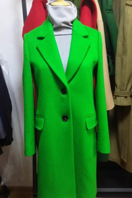 Green Single Beasted Women Wool Coat with lining