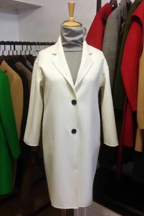 White Single Beasted Women Wool Coat without lining