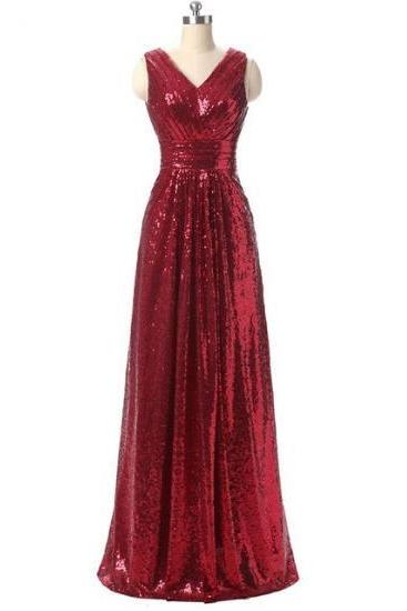 V-neck Long Sequin Lace Prom Dresses