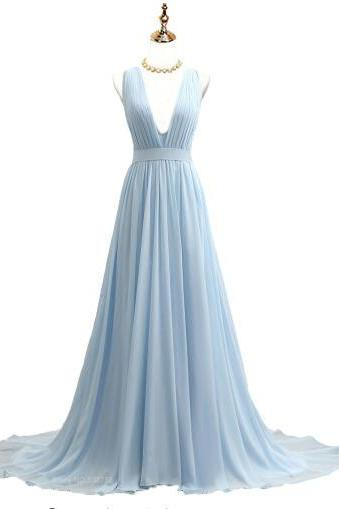 Sleeveless Plunging V Chiffon A-line Long Prom Dress, Evening Dress