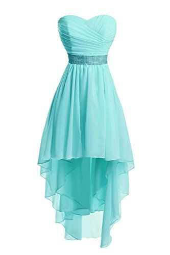 High Low Chiffon Prom Dress Sweetheart Neck Crystals Women Party Dress