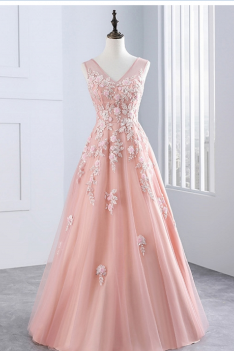 V-neck Long Pink Tulle Prom Dress Lace Appliques Women Party Dress