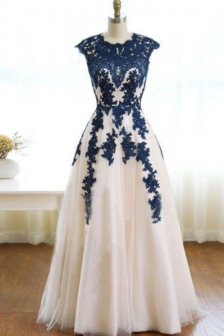 Cap Sleeves Long Tulle Prom Dress Lace Appliques Women Party Dress