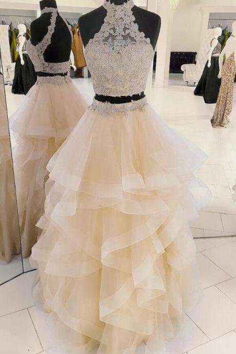 2 Pieces Tulle Prom Dress Halter Neck Lace Women Party Dress