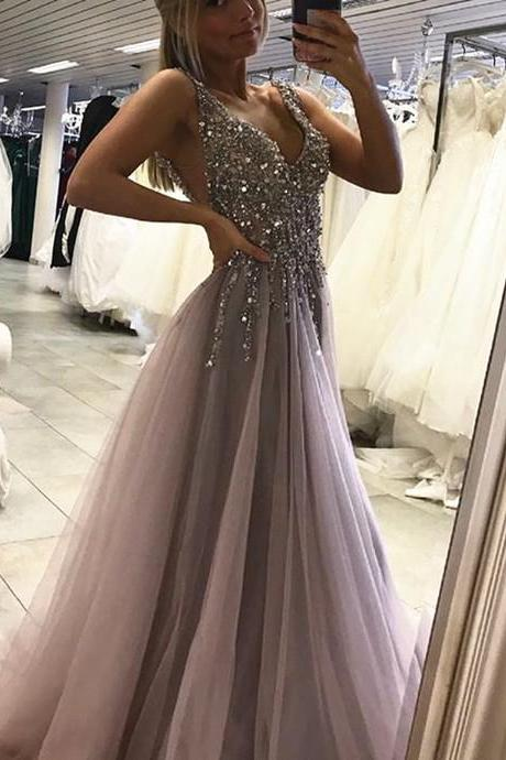 Deep V Neck Long Tulle Prom Dress Crystals Beaded Women Party Dress
