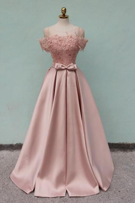 Off Shoulder Satin Pink Prom Dress Lace Appliques Women Party Dress