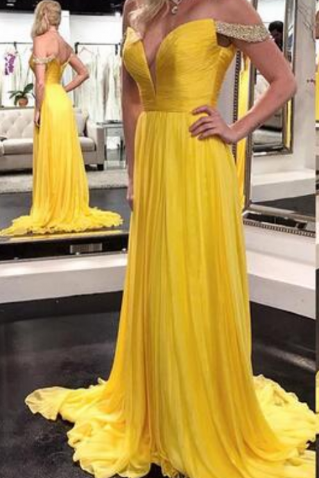 Off Shoulder Prom Dress, yellow Prom dress, Beaded Prom Dress, Chifffon Prom Dress, Long Prom Dress, Yellow Evening Dress
