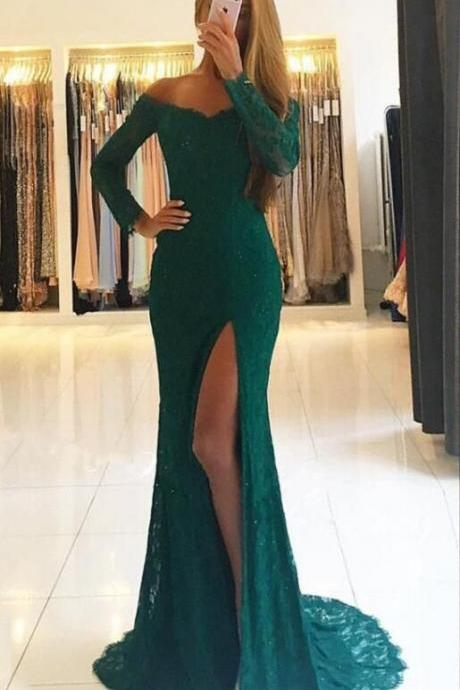 Long Sleeves Green Prom Dress, Lace Prom Dress, Off Shoulder Prom Dress, Side Split Prom Dress, Green Evening Dress