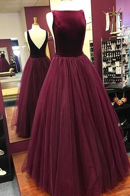 Scoop Neck A-line Tulle Prom Dress Floor Length Women Party Dress