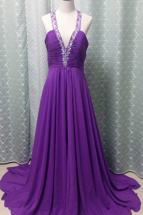 Purple Chiffon Prom Dress V Neck Beaded Women Evening Dress
