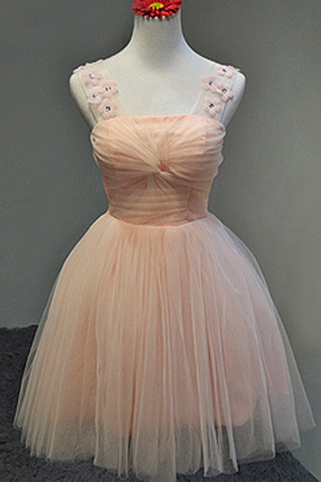 Straps A-line Tulle Pink Homecoming Dress Mini Women Party Dress