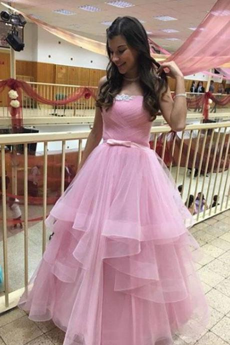 Strapless A-line Pink Tulle Prom Dress Beaded Women Floor Length Dress