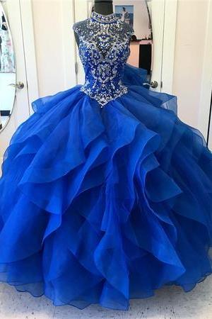 Ball Gown Ruffle Organza Prom Dress Royal Blue Beaded Women Formal Dress