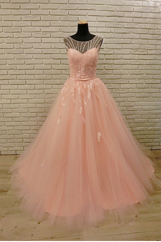 Scoop Neck A-line Tulle Pink Prom Dress Beaded Women Party Dress