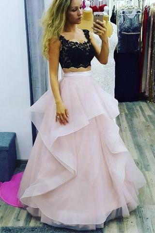 2 Pieces Long Tulle Pink Prom Dress Scoop Neck Lace Women Dress