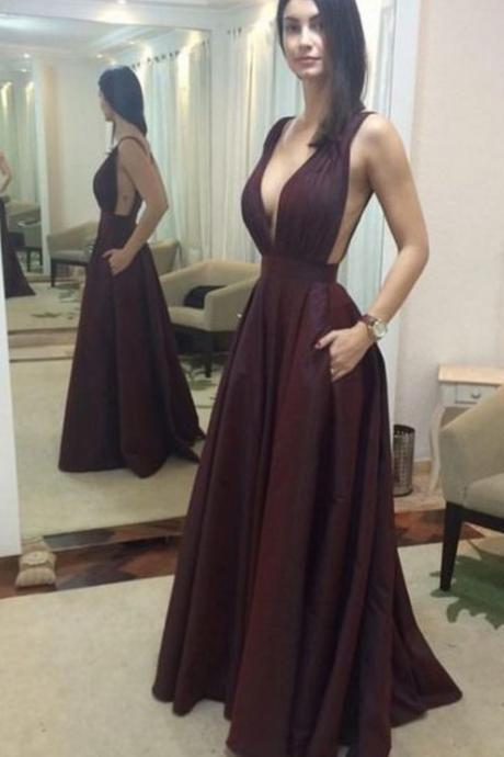 V neck Long Brown Satin Prom Dress Floor Length Women Dress