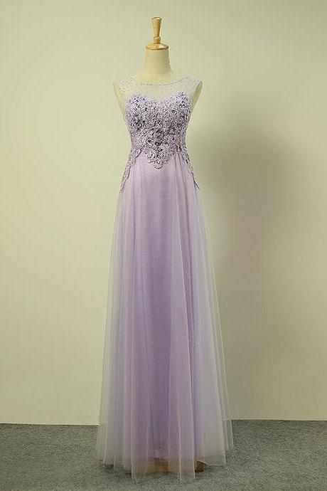 Scoop Neck Long Purple tulle Prom dress Lace Appliques Women Dress