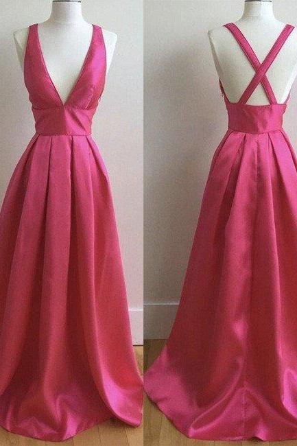 One Shoulder Red Satin Prom Dress V Neck Floor Length Women Dress