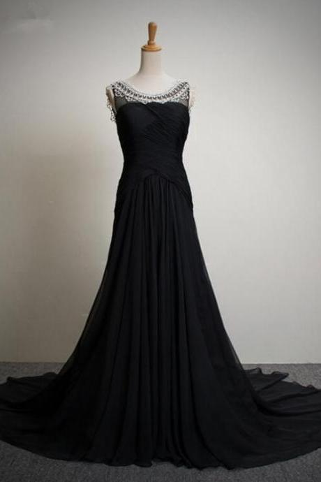 Scoop neck Long Black Chiffon Prom Dress Beaded Floor Length Women Dress