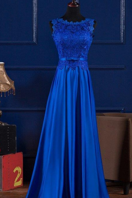Scoop Neck Royal Blue Chiffon Prom Dress Lace Appliques Floor Length Women Dress