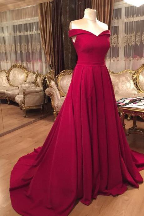 off the Shoulder A-line Long Satin Red Prom Dress