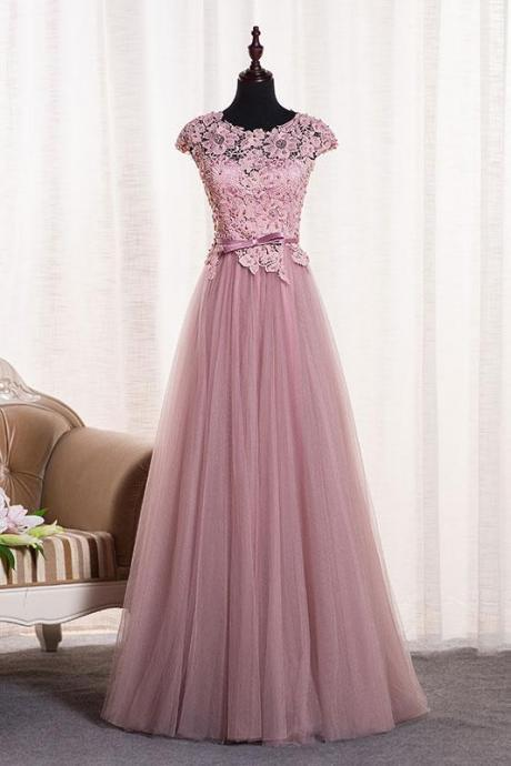Cap Sleeves Long tulle Prom Dress Scoop neck Lace Appliques WomenDress
