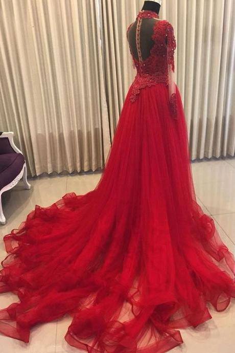 Long Sleeves Tulle Prom Dress Lace Appliques Women formal Dress