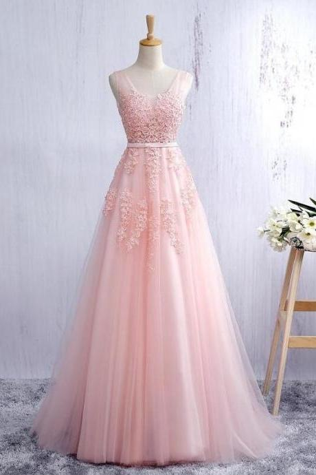 V Neck Pink Long Tulle Prom Dress Lace Appliques Women Party Dress