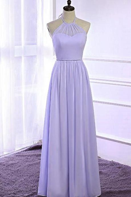 Purple Chiffon Prom Dress Halter Neck Long Women Dress