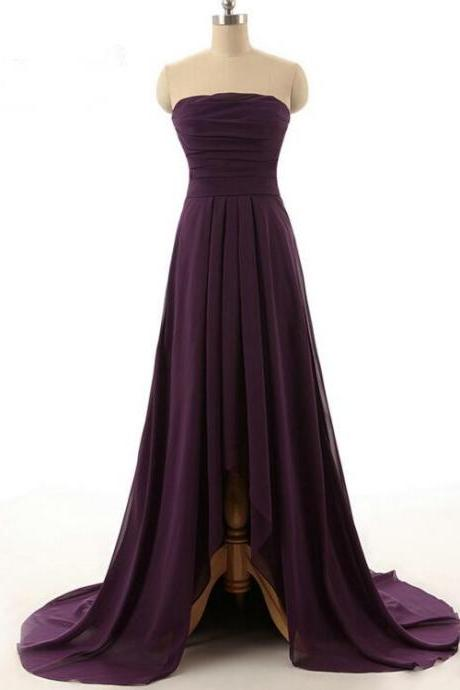 High Low Purple Chiffon Prom Dress Strapless Pleat Women Evening Dress
