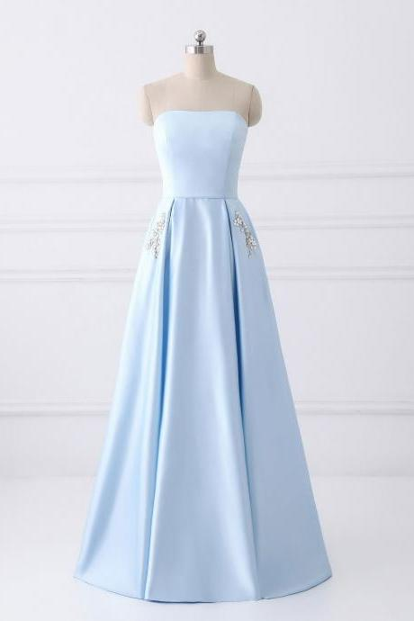 strapless A-line long satin dress women prom dress beaded women dress