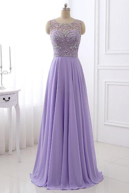 scoop neck long Purple chiffon prom dress beaded floor length women dress