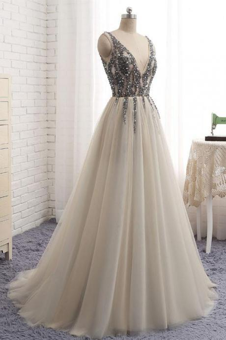 V Neck Long Tulle Prom Dress Crystals floor Length women party Dress