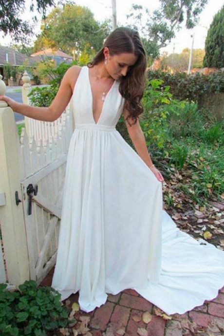 V Neck Long White Chiffon Formal Evening Dress Floor Length Women Dress