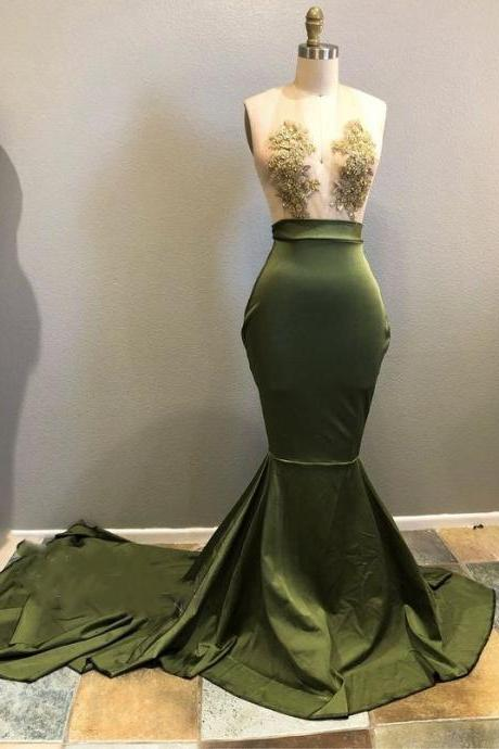 Halter Neck Mermaid Green Prom Dress Lace appliques Women party Dress
