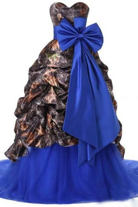 Printed Polyester Royal Blue Tulle Wedding Dress Sweetheart Big Bow Tie