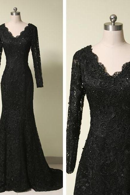 V Neck black Lace Prom Dress Long Sleeves Floor Length Women Dress
