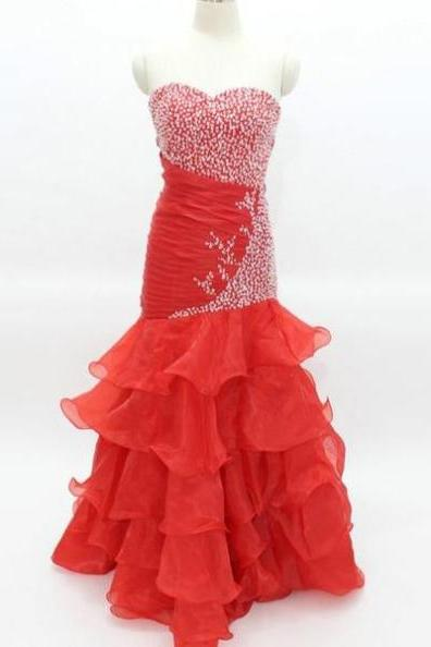 Mermaid Red Organza Prom Dress Strapless beaded Floor Length Women Dress