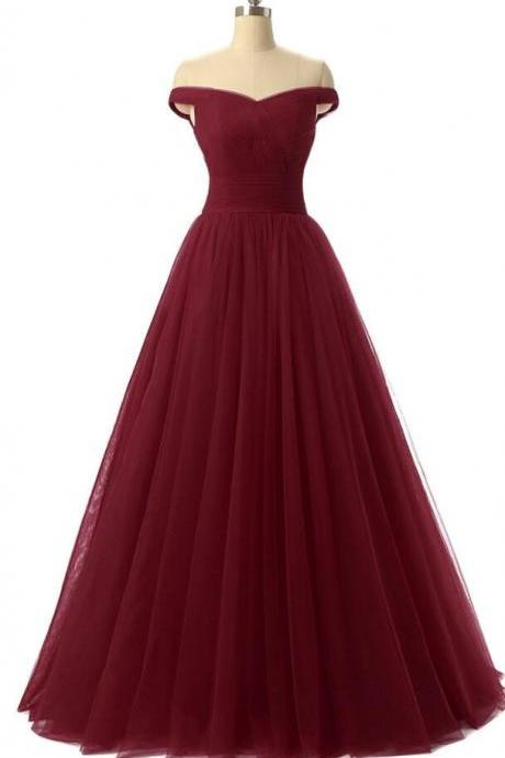 Off the Shoulder A-line Tulle Burgundy Prom Dress Floor Length Formal Evening Dress