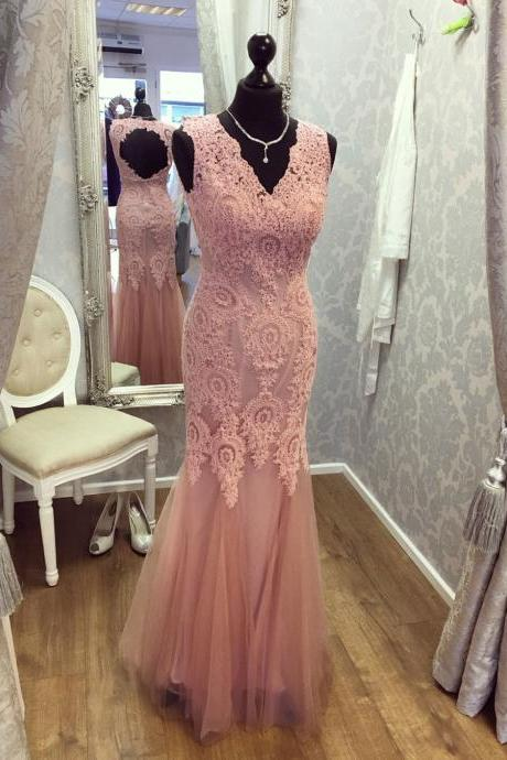V Neck Mermaid Tulle Prom Dress Lace Appliques Floor Length Women Dress