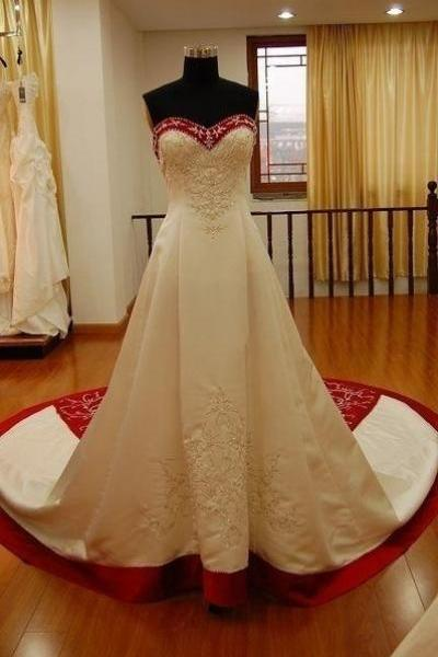 Embroidery White and Red Satin Wedding Dress Floor Length Women Bridal Gowns