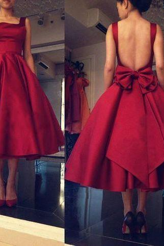 Open back Ball Gowns Satin Red Prom Dress Square Neck Mid-calf