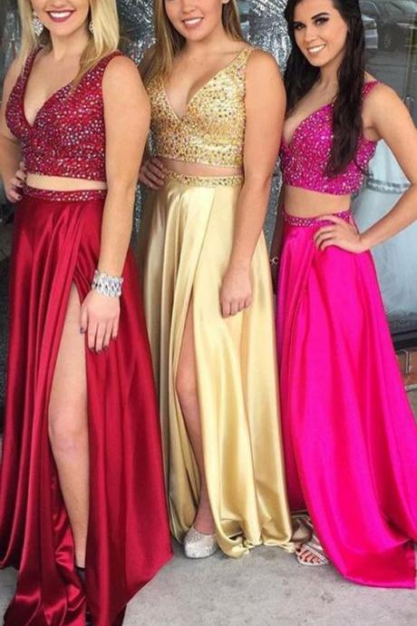 2 Pieces Long Satin Prom Dress V Neck Beaded split Floor Length Women Dress