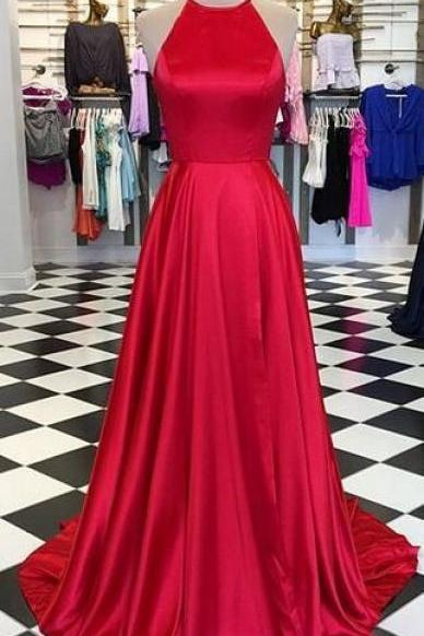 Halter Neck Long Red Satin Prom Dress Floor Length Women Evening Dress