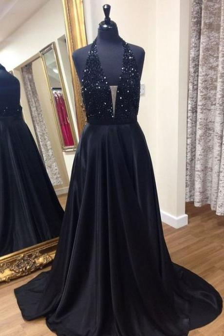 Halter Neck Long Black Satin Prom Dress V Neck beaded Floor Length Women Dress